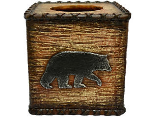 Rustic Bear Tissue Box Cover, , large