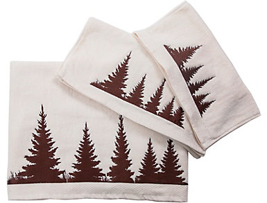 3PC Embroidered Pine Towel Set, , large