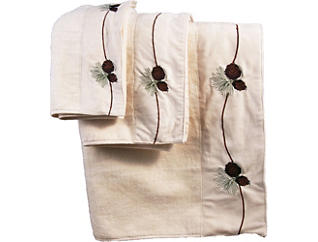3 PC Emb. Pine Cone Towel Set, , large
