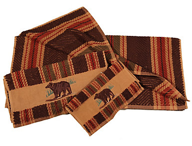 Embroidered Bear 3pc Towel Set, , large