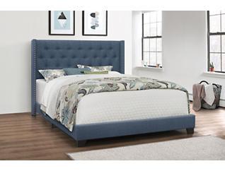 Brandon Blue Queen Upholstered Bed, , large