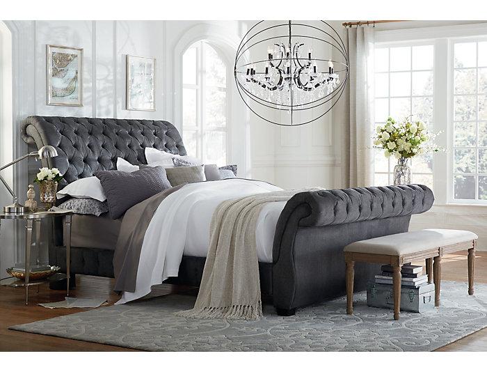 Bombay Gunmetal Queen Upholstered Bed | Art Van Home