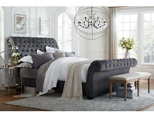 Bombay Gunmetal Queen Upholstered Bed, , large