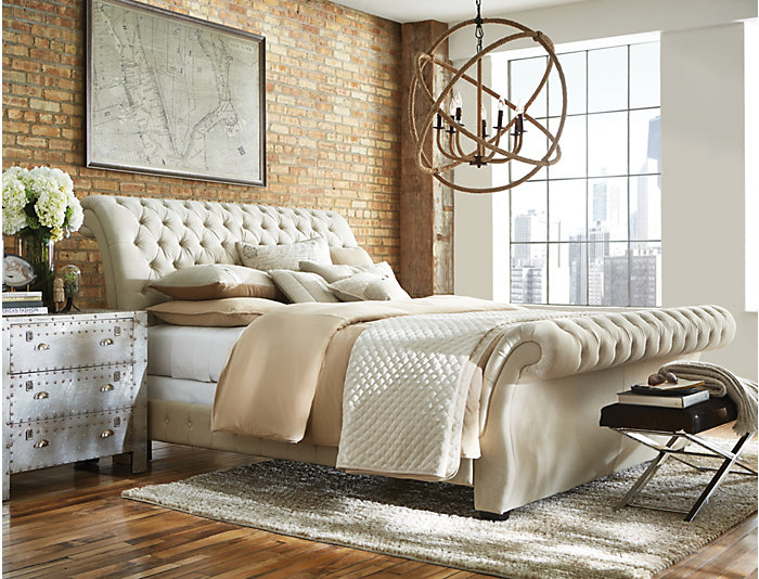 Bombay Queen Upholstered Bed, Linen White, , large