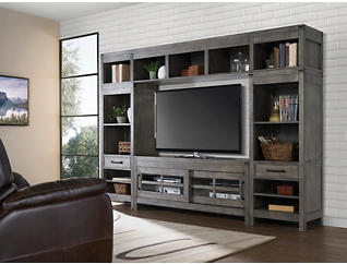 "St Croix Grey Wall with 64"" TV Stand, Grey, large"