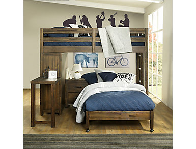 St.Croix Walnut Loft with Twin Caster Bed, Dark Brown, large