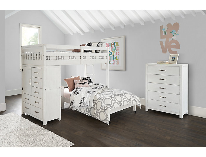 34714090f4b0 St.Croix White Loft with Twin Caster Bed