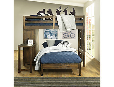St.Croix Walnut Loft with Full Caster Bed, Dark Brown, large