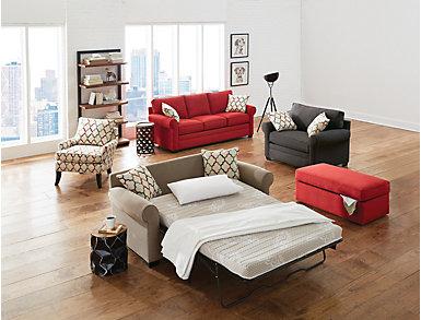 Murphy Cardinal Queen Plus Sleeper Sofa, Cardinal, large