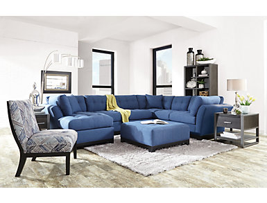 Illusions II Denim 3 Piece Left-Arm Facing Chaise Sectional, Denim, large