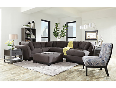 Illusions II Denim 3 Piece Right-Arm Facing Chaise Sectional, Denim, large