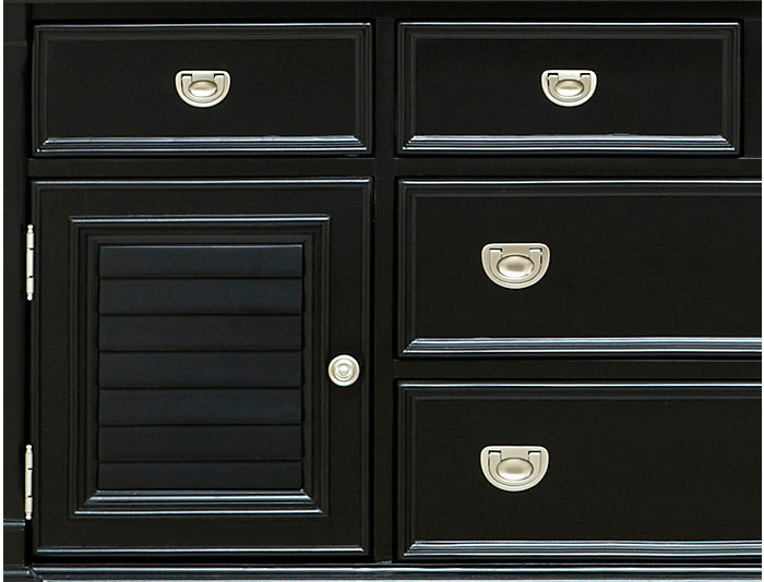Breeze Black 8 Drawer   2 Door Dresser