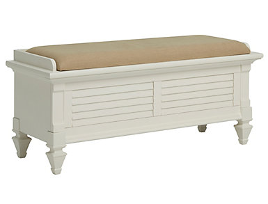 Breeze White Upholstered Storage Bench, , large