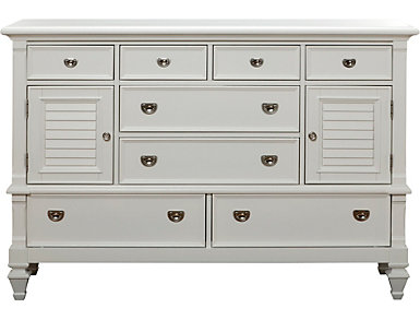 Breeze White 8 Drawer 2 Door Dresser, , large