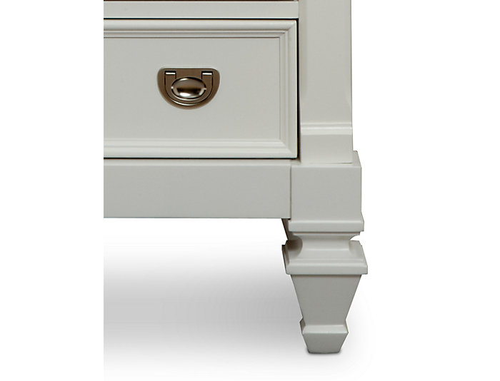 Breeze White 3 Drawer Nightstand, , large
