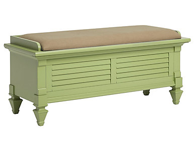 Breeze Green Upholstered Storage Bench, , large