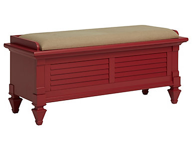 Breeze Red Upholstered Storage Bench, , large