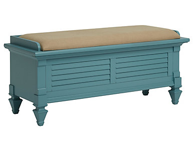Breeze Blue Upholstered Storage Bench, , large