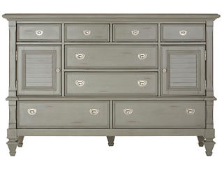 Breeze Grey 8 Drawer - 2 Door Dresser, , large