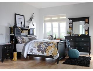 Breeze Black Twin Bookcase Bed, Black, large