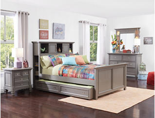 Breeze Grey Twin Bookcase Bed, , large