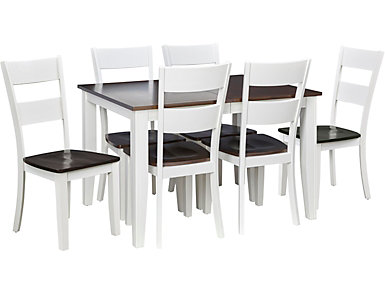 Choices 7 Piece Dining Set, Ivory and Chestnut, , large