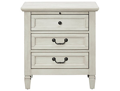 Lakeshore White 3 Drawer Nightstand, , large
