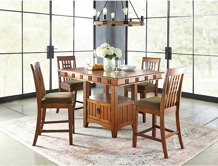 Art Van Dining Room Tables: Oak Park Gathering Table And Four Gathering Stools