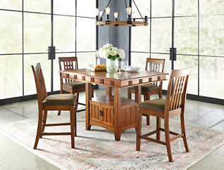 Oak Park Gathering Table and Four Gathering Stools, , large