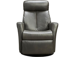 Queen Power Gliding Swivel Leather Recliner, , large
