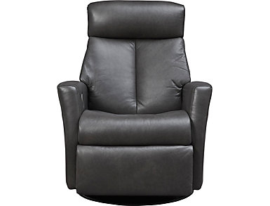 Queen Large Swivel Glider Power Leather Recliner, , large