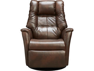 Boston Medium Dual Power Gliding Swivel Leather Rocker, , large