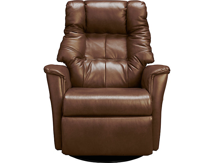 Boston Large-Scale Power Gliding Swivel Leather Rocker by Nordic Style, Brown, , large