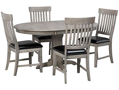 5pc Pedestal Dining Set, , large