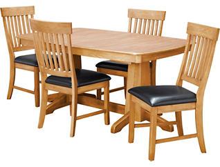 TRESTLE TABLE & 4 SLAT CHAIRS, , large