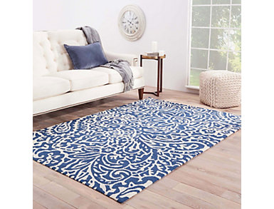 "Flores Blue/Neutral 7'6"" x 9'6"" Indoor/Outdoor Rug, , large"