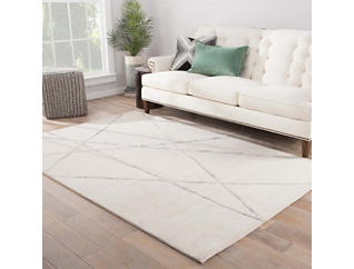 """Navonna White and Grey 2 """" x 3 """" Rug, , large"""