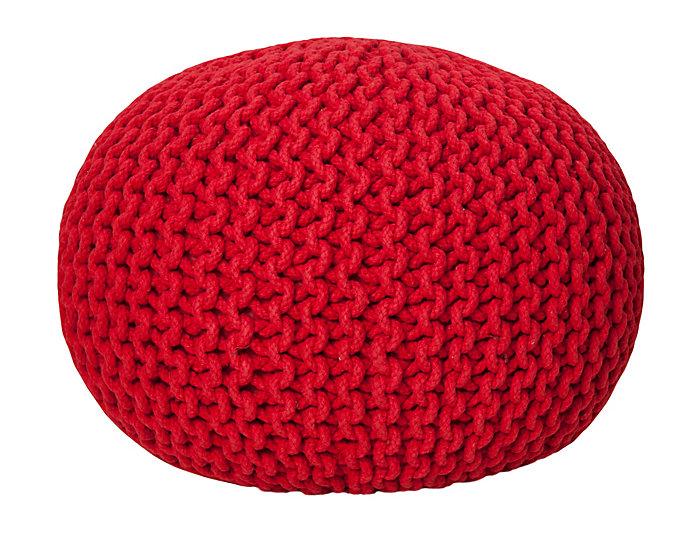 Red Pouf Ottoman, , large