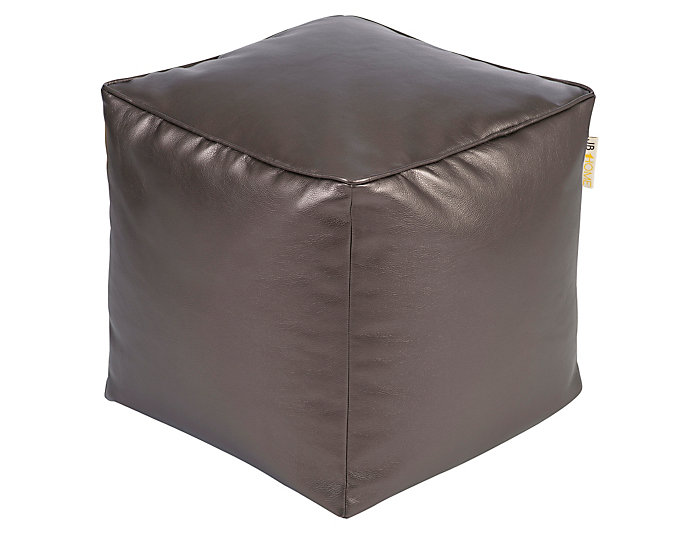 Glam Pewter Vinyl Pouf, , large