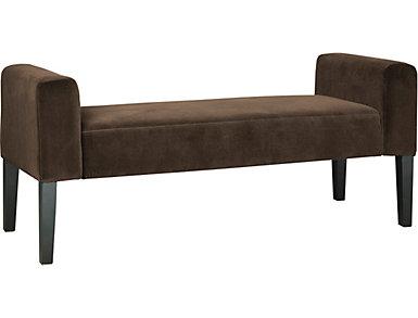 Modern Velvet Sable Upholstered Bench, , large
