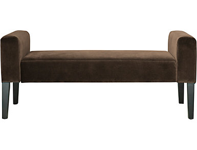 Modern Velvet Sable Upholstered Bench, Grey, large