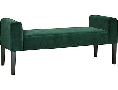 Modern Velvet Teal Upholstered Bench, , large