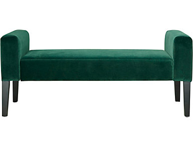 Modern Velvet Teal Upholstered Bench, , large