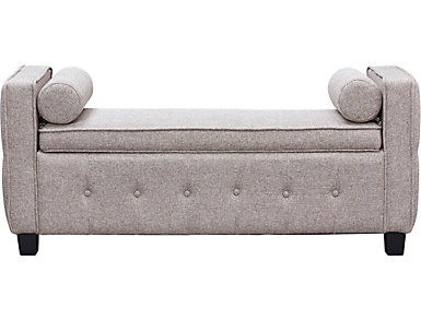 Infinity Fawn Upholstered Storage Bench, Beige, large