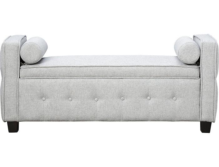 Infinity Grey Upholstered Storage Bench, , large