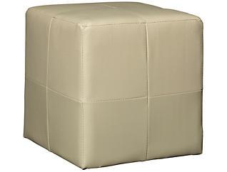 Beige Cube Ottoman, , large