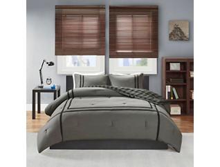 Oxford Grey 3 Piece Twin Comforter Set, , large