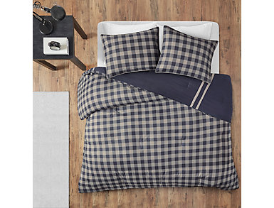 Oxford Navy 3 Piece Twin Comforter Set, , large