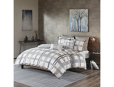 Sterling Plaid Full/Queen Comforter Mini Set, , large