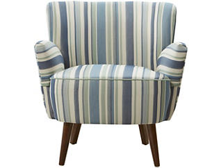 Tara Blue Striped Accent Chair, , large